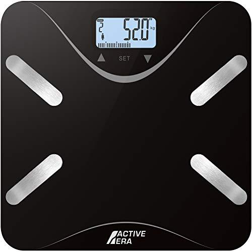 Active Era Digitale Körperfett Personenwaage: Elegantes, super schmales Gerät mit Körperfettanteil-, BMI-, Alters-, Gewichts- und Größenanzeige - Schwarz