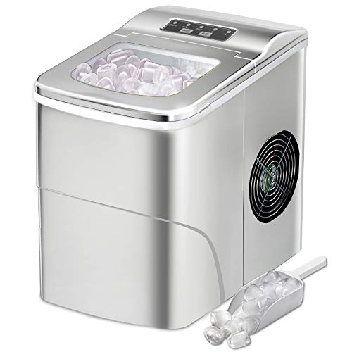 AGLUCKY Counter top Ice Maker Machine,Compact Automatic Ice Maker,9 Cubes Ready in...