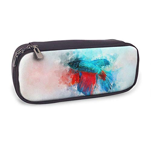 Pencil Case Pen Bag,Watercolor of Siamese Fighting Fish,Large Capacity Pen Case Pencil Bag Stationery Pouch Pencil Holder Pouch with Big Compartments