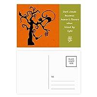 猫は木のハロウィンに 詩のポストカードセットサンクスカード郵送側20個