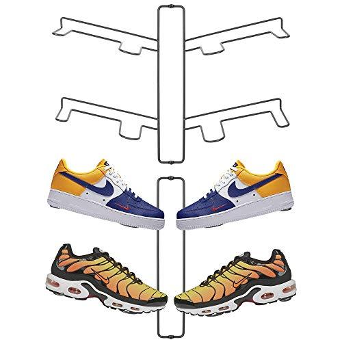 mDesign Juego de 2 organizadores de zapatos – Zapatero de pared para dos pares de zapatillas, calzado deportivo, etc. – Una alternativa al mueble zapatero que ahorra espacio – gris