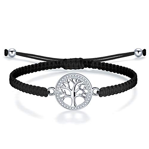 J.Endéar Lebensbaum Armband Damen Silber 925 Zirkon geflochtene Schnüre Seil Baum des Lebens Schmuck Freundschaft Geschenk