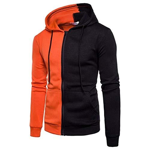 Sweat à Capuche Sport Hommes Casual Pull Tops à Manches Spécial Style Longues Couture Zipper Manteau Greatestpak Tops (Color : Orange, Size : M)