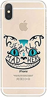 DECO FAIRY Compatible with iPhone XR, Cartoon Anime Animated Alice in Wonderland We are All Mad Here Chester Cheshire Cat Smile Face Series Transparent Translucent Flexible Silicone Cover Case