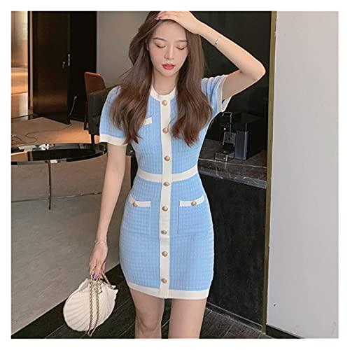RHH Shop Conjunto De Vestido De Cinturón De Espagueti De Vestido De Tweed para Mujer (Color : Blue, Size : One Size)