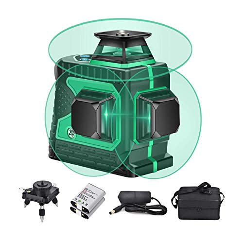 JIALILI 3X360 leveling cross-line, 12 lines Green Beam 131ft vertical horizontal line with 1 base, 4000mAh battery, automatic self-leveling