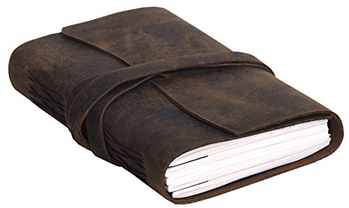 Handmade Leather Journal/Writing Notebook Diary/Bound Daily Notepad For Men & Women Unlined Paper Medium 7 x 5 Inches, writing pad gift for artist, sketch (Distressed Tan)