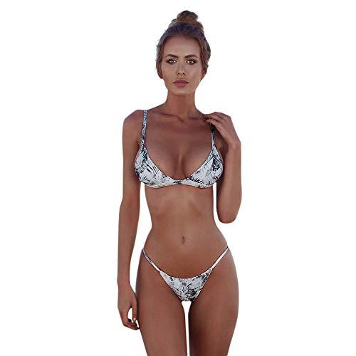 Bikinis Mujer 2019 Push up Sexy Bikini de Tres Puntos con Estampado de Hojas y Lunares Bohemio BañAdores con Relleno Sujetador Tops y Braguitas Traje de Baño de Dos Piezas riou