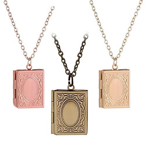 Regalo Joyería Cadena Libro Cuadrado en Forma de Collar Colgante Foto Locket