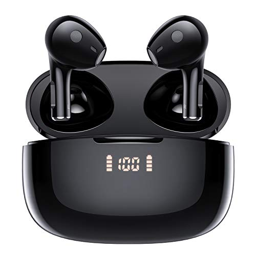 Wireless Earbuds, Lermom Bluetooth 5.0 Headphones, TWS HD Stereo Sound Earphones with LED Power Display Charging Case & Touch Control Built-in Mic, in-Ear Headset Sweat Proof Earpieces for Music/Work