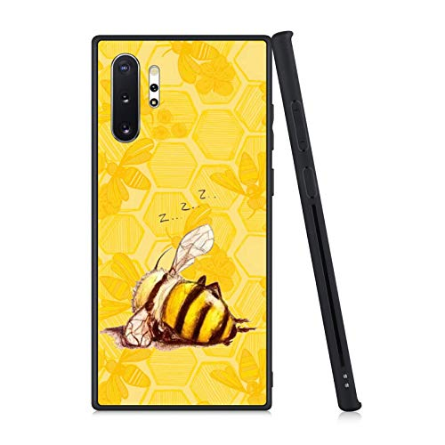 FAUNOW Matte Case for Samsung Galaxy Note 10+ Lazy bee TPU + PC Shockproof Protective Black Case