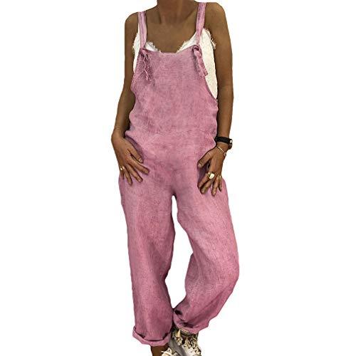 hongxin Donna Taglia Grossa Jumpsuit Dritta Jeans con Tasche Salopette Lunga Pagliaccetto...