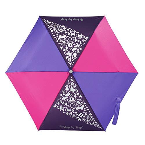 Step by Step Regenschirm 'Purple & Rose', lila-rosa, Magic Rain Effect, Knirps für Kinder, inkl. Farbwechsel, Tasche und Handschlaufe, Mädchen & Jungen