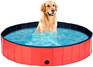 LEDMO Pet Swimming Pool Large Portable Foldable PVC Pool Outside Wash Tub Bathing Tub for Large Dogs ?63 x12 in? Red