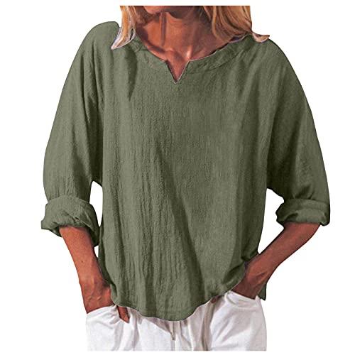 LalalukaBluseDamen OberteileEinfarbig V-Ausschnitt Langarm Loose T-Shirt Frauen SommerT Shirt BluseTSshirtTshirtHemdLongshirtOberteilTunikaTop KurzarmshirtSweatshirtTee