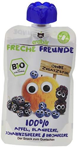 Freche Freunde Bio Quetschie 100% Apfel, Blaubeere, Johannisbeere & Brombeere 6-er Pack (6 x 100g)