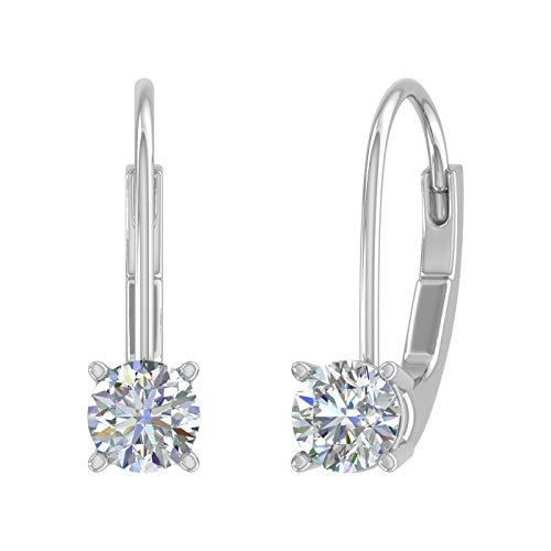 1/2 Carat Diamond Leverback Drop Earrings in 14K White Gold - IGI Certified