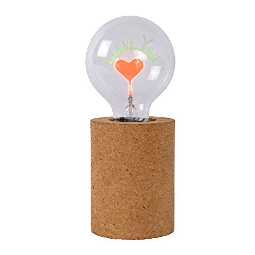 Lucide CORKY - tafellamp - Ø 8 cm - LED - E27-1x3W 1700K - bruin