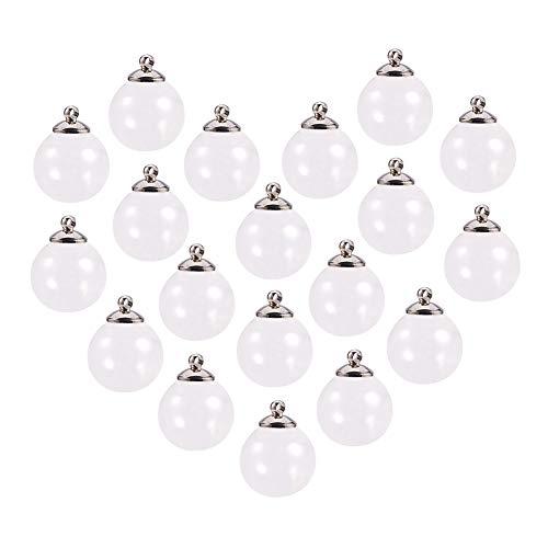 PandaHall Elite 30 juegos de colgantes de botella de cristal MIni con platino, chapado en latón, para hacer pendientes o manualidades