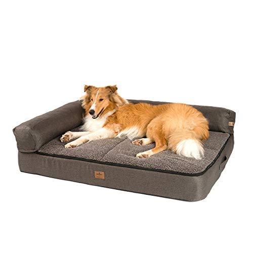 JAMAXX Premium 4-in-1 Hunde-Sofa - Orthopädische Couch mit Memory Visco Schaumstoff, abnehmbare Polster, Extra-Dicke Polsterung, Wechsel-Bezug, Waschbar, PDB3015 (L) 120x90 braun