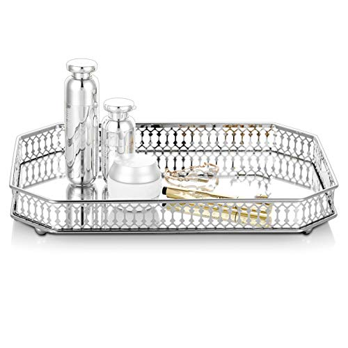 Nuptio Verzierter Dekorativer Metallbehälter aus Metall, Silberner Rechteckiger Kerzenhalter, Cupcake Tablett für Hochzeitsschlangen, Tischaufbewahrungstablett, Multifunktionaler Teller, Obsttabletts