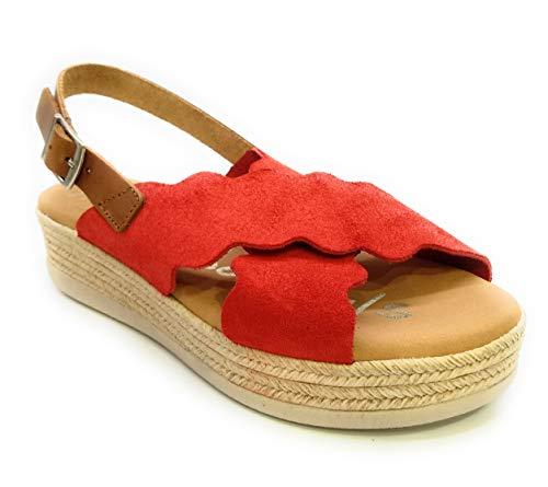 Oh! my Sandals 4682 Plataforma Piel Serraje Hebilla-Rojo
