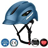 Shinmax Commuter Bike Helmet, Bicycle Helmet CPSC&CE Certified with LED Rare Light&Portable Backpack...