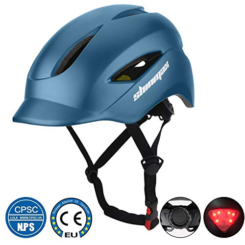 Fietshelm, CE-gecertificeerde veiligheidshelm met LED-achterlicht en maatafstelling, Fietshelmen geschikt voor volwassen mannen en vrouwen berg- en wegfietsen