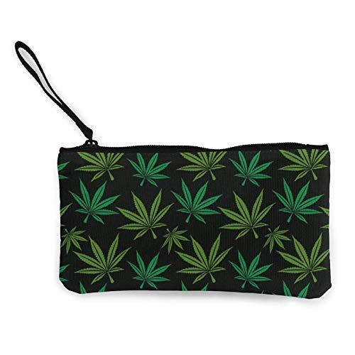 Marihuana hoja impresión portátil mujeres lona monedero almacenamiento bolsas pequeñas monedero cremallera viaje cosméticos
