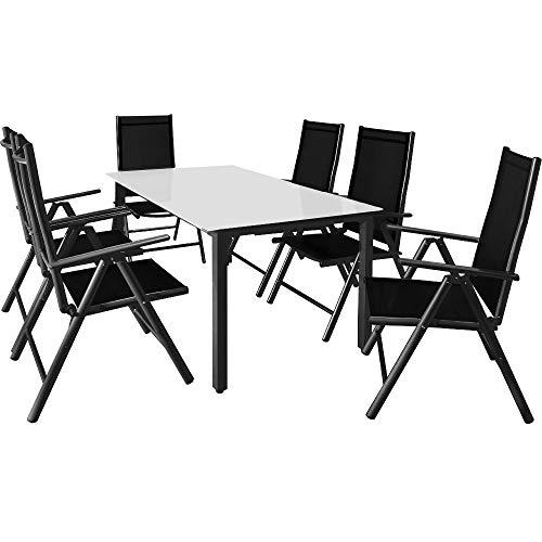 Casaria Salon de Jardin Aluminium Anthracite »Bern« 1 Table 6 chaises Pliantes Plateau de Table en Verre dépoli Dossier réglable 7 Positions
