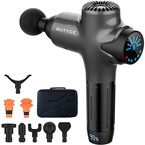 Massage Gun Muscle Athletes Pain Relief Super Quiet Portable Neck Back Body Relaxation Electric Drill Sport Massager Brushless Motor with 8 Attachment 7 Speeds Y8 Pro Max(Gray)