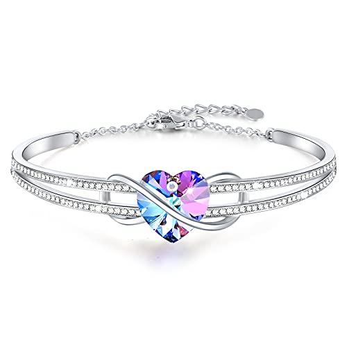 SNZM Bracelet jonc pour Femme Bracelets Coeur d'amour en Argent pour Elle Fête des mères La Saint-Valentin Cadeaux de Bijoux pour Maman Femme