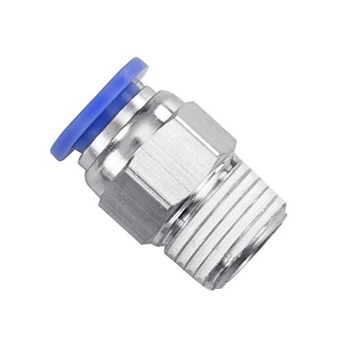 ISPINNER 10pcs 3/8' Tube OD x 1/4' NPT Thread Straight Push to Connect Fittings, Quick Release Pneumatic Connectors PC-3/8-N2