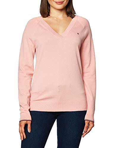 Tommy Hilfiger Damen V-Neck Sweater Pullover, Rose, M
