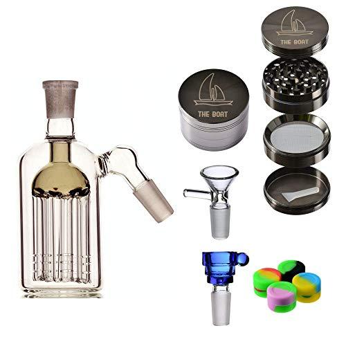 Bong Glas Percolator buiten - THE BOAT Jennifer 12 cm Grinder THE BOAT lichtmetaal 4 delen + Bowls glas + accessoires gemaakt van siliconen - handgemaakt Celeste Y Blanco