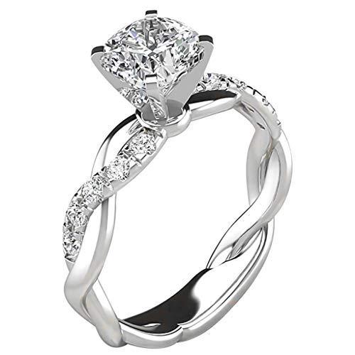 Anillos para mujer, anillos de declaración mamá Loves You Forever con diamantes microincrustados, regalo de plata #5