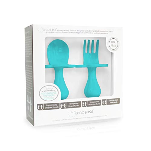 Grabease Baby and Toddler Self-Feeding Utensils – Spoon and Fork Set for Baby-Led Weaning – Made of Non-Toxic Plastic – Featuring Protective Barriers to Prevent Choking and Gagging