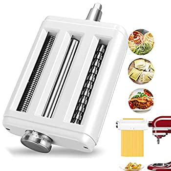 Pasta Maker Attachment for All KitchenAid Mixers Noodle Maker 3 in 1 Set of Pasta Sheeter Fettuccine Cutter Spaghetti Cutter and Cleaning Brush Kitchen aid Mixer Accessories White