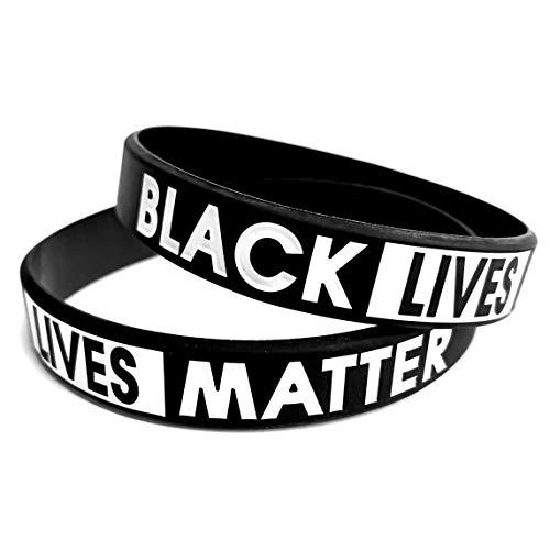 2 PACK | Black Lives Matter Bracelet Silicone Awareness Wristband | BLM