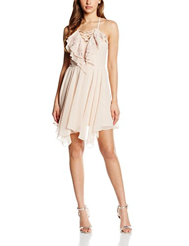 Lipsy Women Ruffle Lace Up Kleid, Beige (Nude), DE 38 (UK 12)