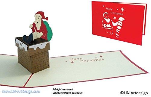 Lin pop-up 3D kerstkaarten, kerstman, schoorsteen, open haard (Engels. #435).