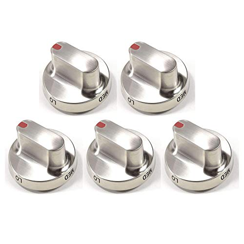 5 pcs DG64-00472A Range Burner Knob Replacement for Samsung NX58F5300SS NX58F5500SS FX510BGS FX710BGS Gas Range. Stainless Steel Knob Dial Replace DG64-00347A, 3447604, AP5949480, PS10058981
