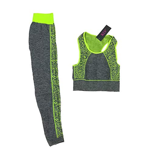 Cisna 2013, S.L. Set di Abbigliamento da Allenamento Sportivo da Donna, per Yoga, Palestra, Corsa Top Gilet e Leggings Aderenti. Taglia Unica (S-L) Spirale Colore Verde.