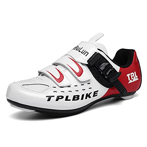 Youngtie Chaussures de Cyclisme sur Route pour Hommes Chaussures de Vélo Peloton Compatible avec SPD et Delta Intérieur Extérieur Blanc 280