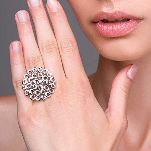 Ungewöhnlicher Wabenring aus Sterlingsilber, großer runder Ring, einzigartiger, klobiger Ring, handgefertigter Qualitätsschmuck von Emmanuela, griechischer Kunstschmuck für Frauen