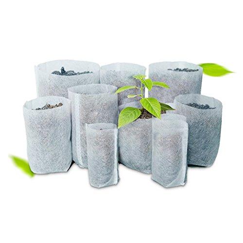 Lunji 100 Pièces Sacs à Plantes Biodégradable Non-tissé Pépinière Sacs (7×9cm)