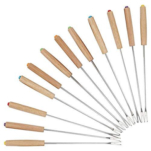 HAPPY FINDING Edelstahl Grillgabel Fondue Gabel - 12 Stück Set Fonduegabeln mit Griff aus Holz, Fonduebesteck aus Edelstahl, Fonduespieße 24 cm Länge (Holz: Gelb)