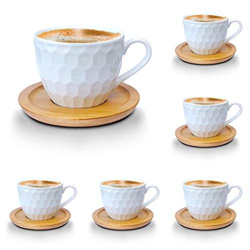 Kaffeetassen Teetassen Espressotassen-Set weiss Porzellan Tassen Teeservice Kaffeeservice mit Bambus Untertassen 12-Teilig (Kaffeetassen 200ml, Mod2)