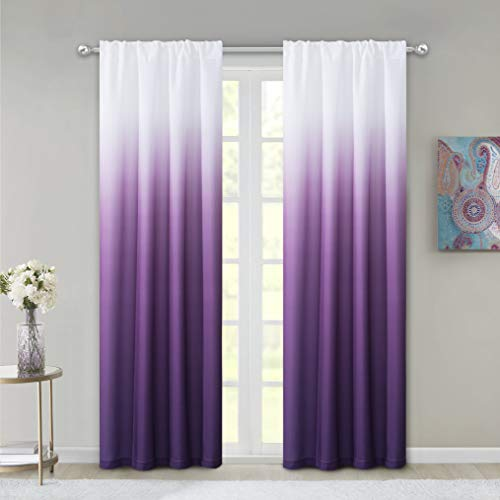 Dainty Home Shades 2-Window Panel Rod Pocket Set, 40 by 84-Inch, Purple