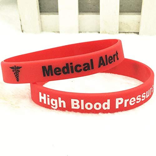 Xlin Pulsera De Mano De Silicona De Alerta Médica De Alta Presión (Color : Red)